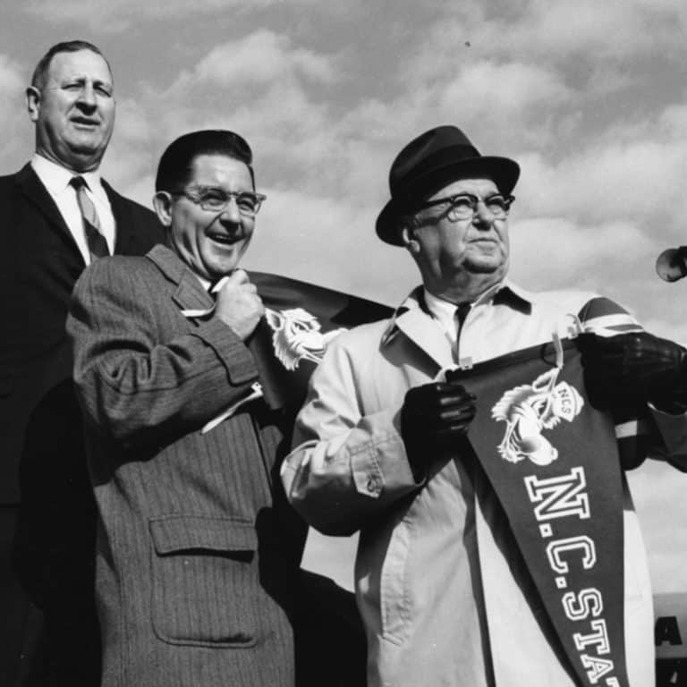 Roy Clogston, William Friday, and Walker Martin at the groundbreaking for Carter Stadium