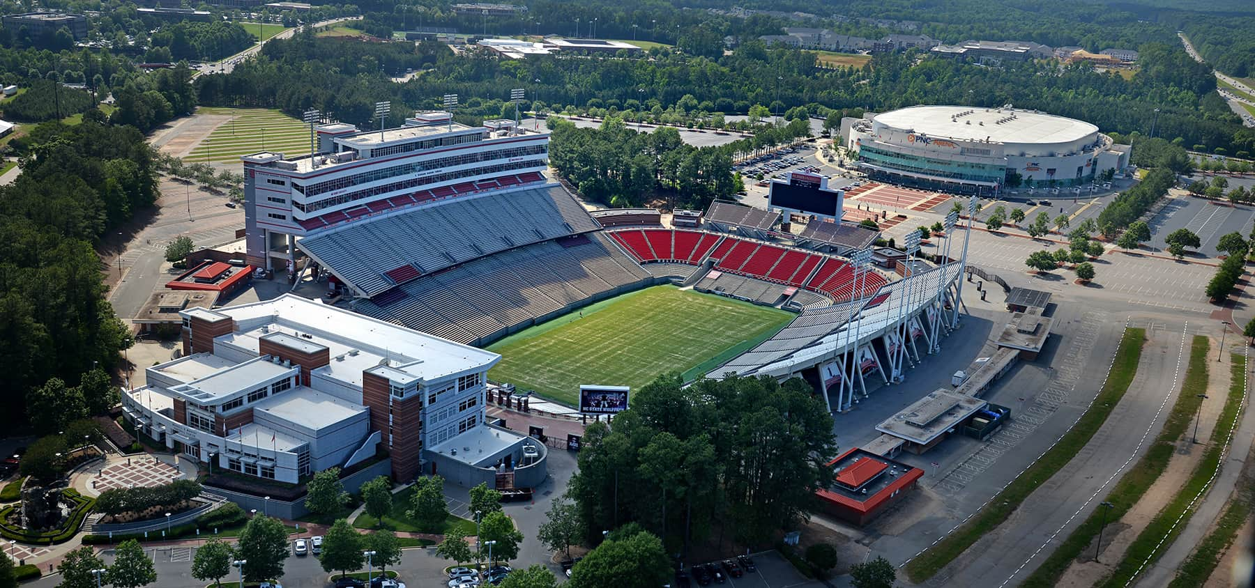 An aerial shot of an empty Carter-Finley Stadium