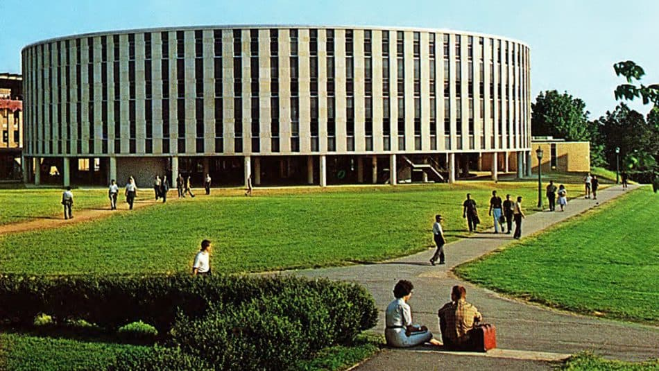 Harrelson Hall surrounded by grass