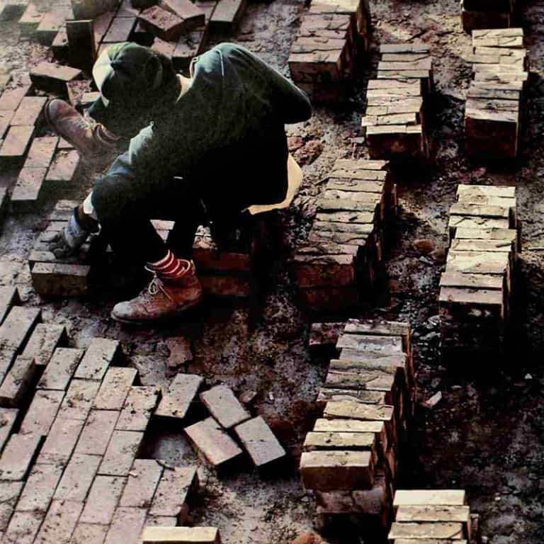 A bricklayer at work